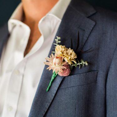 japonica wedding florist buttonhole